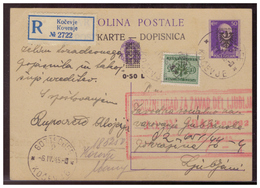 Laibach (005328) WKII Ganzsache Mit Zusatzfrankatur Gelaufen Am 6.4.1945 Als Einschreiben Geprüft Krischke - Occupazione 1938 – 45