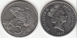 Nuova Zelanda 5 Cents 1989 Km#60 - Used - Nouvelle-Zélande