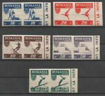 PAIRES DE TP DE ROUMANIE NON DENTELES N° 916/20  NEUFS SANS CHARNIERE - Neufs