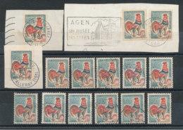 1331A Coq De Decaris En Lot De 15 Dont 4 Sur 3 Fragments - 1962-65 Cock Of Decaris