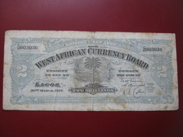 British West Africa Currency Board 1918 Two 2 Shillings Banknote - Banknotes