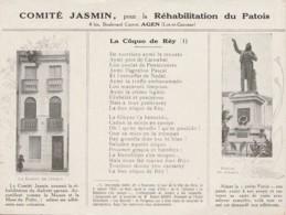 V29-47) AGEN - COMITE JASMIN POUR LA REHABILITATION DU PATOIS -MAISON NATALE - STATUE - LA COQUO DE REY - 2 SCANS - Agen