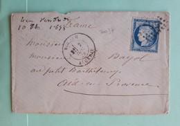 20037# CERES LETTRE Obl GC 5013 BLIDAH ALGERIE 1875 T17 Pour AU PETIT BARTHELEMY AIX EN PROVENCE BOUCHES DU RHONE - Marcophilie (Lettres)