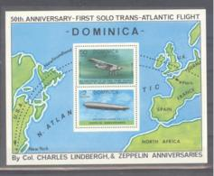 Dominica  Michel #  Block 48 **  50th. Anniversary First Solo Trans-Atlantic Flight  Charles Lindbergh - Aerei