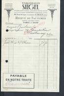 FACTURE DE 1927 ETABLISSEMENTS SIEGEL À PARIS RUE ARAGO X SAINT OUEN  : - France