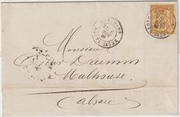 EAC Ferguson Tepper 25c Sage O. Cad T18 Ronchamp Haute Saône -> Mulhouse Alsace 1880 - Postmark Collection (Covers)