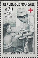 FRANCE 1966 Red Cross Fund - 30c.+10c   Nurse Tending Young Girl (1966) MH - France