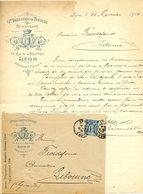 FACTURE COURRIER COMMERCIAL BRASSERIE DU TONNEAU A LYON 1900 AVEC SON ENVELOPPE - France