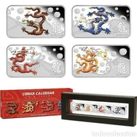 Cook Islands 2012 Year Of Dragon 4 Coin Silver Set - Cook