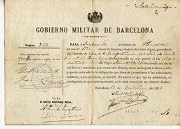 ESPAGNE DOCUMENT 1898 GOBIERNO MILITAR DE BARCELONA - Documents