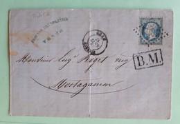 20045# LETTRE BOITE MOBILE BM Datée De TENES Obl GC 5051 ORAN ALGERIE 1867 T15 Pour MOSTAGANEM - Marcophilie (Lettres)