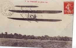 41  AB CPA Le Wright En Plein Vol - Aviateurs