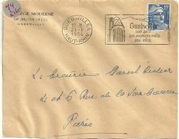 RHIN / Haut - Dépt N° 68 = GUEBWILLER 1954 = FLAMME à DROITE = SECAP Illustrée D'une EGLISE 'VINS / Site / Monuments ' - Marcophilie (Lettres)
