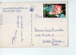 U3580 NICE STAMP (bollo Con Fiori) Small Postcard: Image Of Phra Buddha Chinaraj, Pisanuloke, Northern Thailand - Tailandia