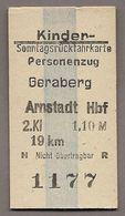 BRD - Pappfahrkarte  (DDR Reichsbahn)-->  Geraberg - Arnstadt - Treni