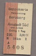 BRD - Pappfahrkarte  (DDR Reichsbahn)-->  Geraberg - Arnstadt (Doppelkarte) - Bahn