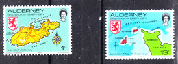 """Alderney - 1983. I Due Francobolli """" Carta Geografica """" Della Serie. The Two """" Map"""" Stamps Of The Series. MNH - Geography"""