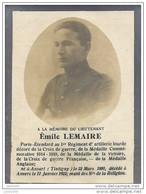 ANSART ..-- Lieutenant Emile LEMAIRE , 1er Régiment Artillerie Lourde , Né En 1890 , Décédé En 1922 à ANVERS . - Tintigny