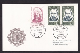 Iceland: Postcard To Germany, 1982, 3 Stamps, Persons, Backside Empty (traces Of Use) - 1944-... Repubblica
