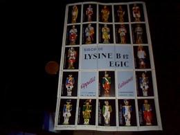 Bloc De  Vignettes Fantaisies Complet Avec  Gomme Dorigine Publicitaire Sirop De Lysine Egic Theme Uniformes Militaire - Vignettes De Fantaisie