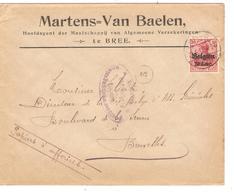 JS535/ Guerre-Oorlog 14-18 TP Oc 14  S/L.Entête Martens-Van Baelen Verzekeringen Bree Càp Bree 1917 Censure Maseik V.BXL - [OC1/25] General Gov.