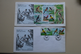 Bangladesh 2 Maxi FDC 1994 Birds Oiseaux Coq Oriole Dicrurus Dendrocitta Oiseau - Gallinaceans & Pheasants