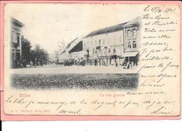 Lituanie Vilna - La Rue Grande  Timbre Et Cachet Russe Au Dos - Lithuania