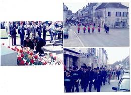 Lot De 3 - 21 AUXONNE - 8 Mai 1986  - Photographie Défilé POMPIERS Uniforme Bar MPU Monument Gerbe Fanfare - Pompiers