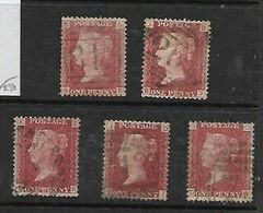 Great Britain, Queen Victoria, 1d Red, Perforated, SG 43 / 44,  Plates 102 - 106 Used - Gebraucht