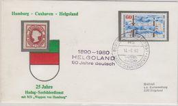 Germany 1980 Ca Helgoland 90J. Deutsch Ca M.S. Wappen Von Hamburg Cover (41281) - [7] West-Duitsland