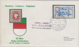 Germany 1980 Ca Helgoland 90J. Deutsch Ca M.S. Wappen Von Hamburg Cover (41281) - Brieven En Documenten