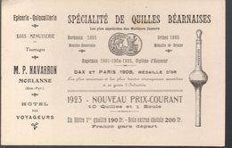 Morlanne (64 Pyrénées Atlantiques) Carte NAVARRON  /  QUILLES BEARNAISES Et Divers 1923 (PPP15937) - Advertising