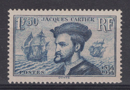 "JOLI TIMBRE N° 297 NEUF * TB "" JACQUES CARTIER "" Avec BELLE GOMME ET CHARNIERE PROPRE - Unused Stamps"