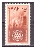 SAAR/SARRE - 1955 - CINQUANTENARIO DEL ROTARY. VALORE CON PIEGA. -  MNH** - 1947-56 Occupazione Alleata