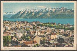 Vue Générale Et Les Alpes, Lausanne, Vaud, 1946 - Phototypie Co CPSM - VD Vaud
