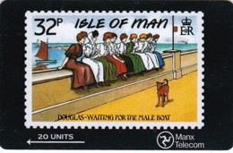 Isle Of Man, MAN 028, Isle Of Man Stamps, Waiting For The Mail Boat, 2 Scans . - Man (Eiland)