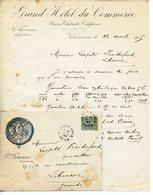 FACTURE GRAND HOTEL DU COMMERCE A VALENCIENNES 1905 AVEC SON ENVELOPPE - France