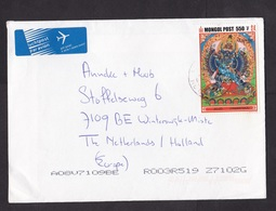 Mongolia: Airmail Cover To Netherlands 2002, 1 Stamp, Traditional Statue, Rare Real Use, Dutch Air Label (traces Of Use) - Mongolië
