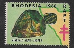 Rhodesia 1968, RAPT (ANTI TB) LABEL, MINERALS, JASPER, Unused, No Gum - Rhodésie Du Sud (...-1964)