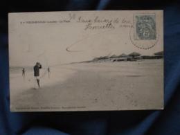 Vieux Boucau  La Plage  Homme Avec Un Parapluie Et Un Chapeau - Coll. Hemery - Circulée 1904 - R257 - Vieux Boucau