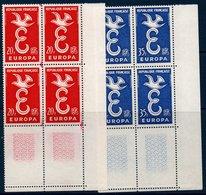 FR 1958   Europa N°YT 1173-1174  ** MNH Blocs De 4 Coin De Feuille (dont Variété) - France