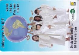 Denmark, DEN-PRE-GO-52, 150 Kr., Julegave Fra IDT Global One, Christmas, 2 Scans.  Expiry : Juli 2007   BEND - Denmark