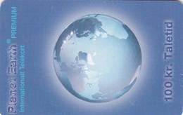 Denmark, Planet Earth, Premium Prepaid Telekort, 2 Scans - Denmark