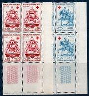 FR 1960  Croix-Rouge  N°YT 1278-1279  ** MNH Blocs De 4 Coin De Feuille - Neufs