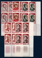 FR 1961  Comédiens Français  N°YT 1301-1305  ** MNH Blocs De 4 Coin De Feuille - Neufs