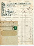 FACTURE SOCIETE INDUSTRIELLE D'ARTICLES D'ECLAIRAGE A PARIS 1912 AVEC SON ENVELOPPE - France