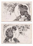 Supplement De La Broderie Illustrée.Art Nouveau. 2 CP. - Künstlerkarten