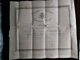 Brevet  MEDAILLE Van Den YZER  Sergant Majoor VAN  DAMME EUG.  Om Zijn Deelneming Aan De YZER  Okt.  1914 - 1914-18