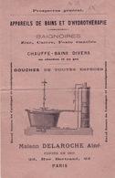 MAISONS DELAROCHE AINÉ 22 RUE BERTRAND PARIS  BAINS HYDROTHÉRAPIE - Old Paper