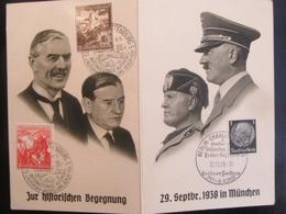 Postkarte Postcard Propaganda Münchener Konferenz 1938 Hitler Mussolini Daladier Chamberlain - Deutschland
